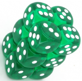 Green & White Translucent 16mm D6 Dice Block